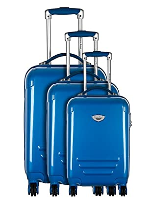 American Revival by Platinium Set 3 Trolleyss 4 Ruedas Colors (Azul)