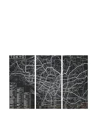 Oliver Gal Tokyo Tourist Map 1918 Triptych Canvas Art