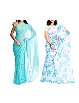 MemSahiba Women Semi-Chiffon Saree set of 2 (MS-1045-1092)