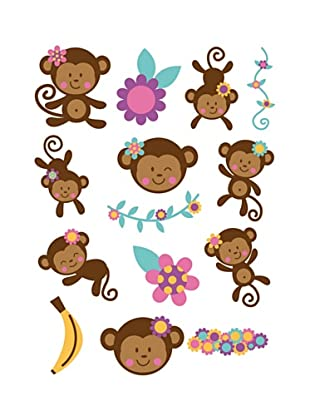Beiwanda Kids Wandtattoo Süßes Affen Set 14-tlg.