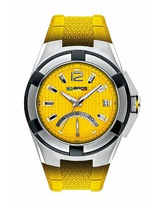 K&BROS 9440-3 / Reloj de Caballero con correa de caucho Amarillo