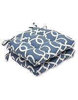 Pillow Perfect Lattice Damask Yacht Reversible Chair Pad, Set of 2