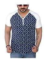 Black Collection Men's V-Neck Cotton T-Shirt (Blue_Large)