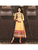 Yellow Georgette Semi Stitched Anarkali Suit
