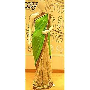 Colour Trendz Designer Half n Half Saree - Green