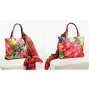 Shopping World Faux Silk With Shiffon Stole Hand Bag - 2Parrots