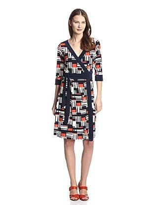 Melissa Masse Women's V-Neck Wrap Dress (Tangerine Navy Grid)