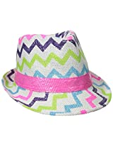 Accessories 22 Girls' Chevron Straw Fedora with Sequin Band, Multi, One Size