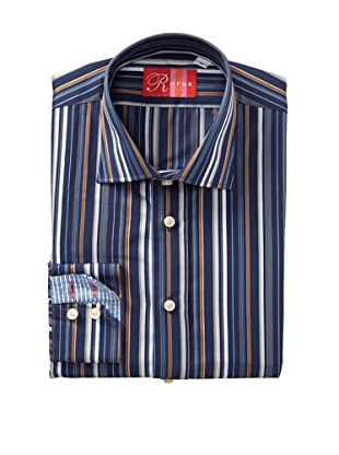 Rufus Men's Button Down Striped Shirt (Blue)