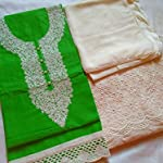 Green Cotton Dress Material With Dupatta