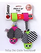 Sassy Chime n Go Bugs Stroller Clip On Green And Pink