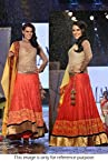 Bollywood Replica Neha Dhupia Net and Velvet Lehenga In Orange and Gold Colour NC306