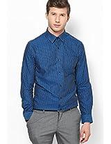 Striped Navy Blue Formal Shirt