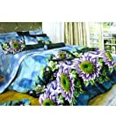 Solace Aqua Blue Floral Printed 3D Double Bedsheet Set
