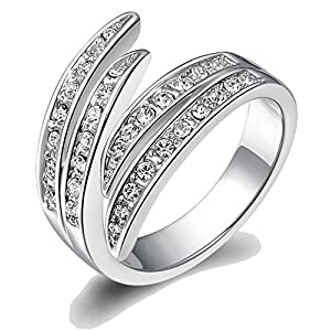 Kaizer Peculiar 18k White Gold Plated Ring for Women