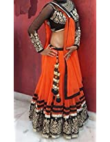 BFZ Designer Replica Orange Color Net Fabric Party Wedding Wear Lehenga Choli