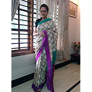 SevenFolds Creamish Polka Dotted Saree