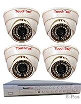 TouchTec 4 Channel D1 DVR + Dome IR Camera , 800 TVL 3.6 MM Lens with stand-5 Pcs