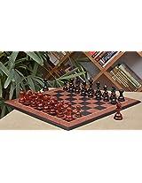 Chessbazaar Combo Of Indian Chetak Ii Customized Staunton Chess Set In Ebony / Bud Rose Wood & Black Anigre Red Ash Board