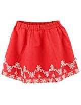 Embroidery Skirt - Red (0-6M)