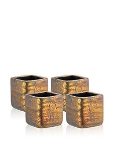 Barreveld International Set of 4 Square Distressed Ceramic Pots (Bronze)