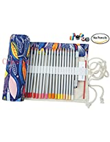 CreooGo Canvas Pencil Wrap, Pencils Roll Pouch Case Hold For 48 Colored Pencils ( PENCILS NOT INCLUDED )-Color fish,48 Holes