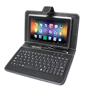 "Wespro 7"" Capacitive Tablet + Leather Pouch with USB Keyboard"