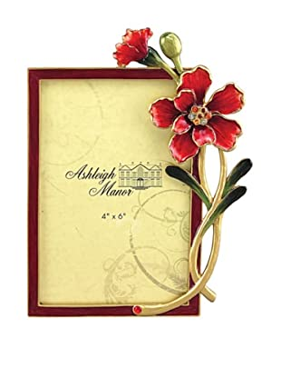 Ashleigh Manor Hand-Painted Enameled Blossom Frame (Red)