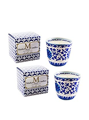 Market Street Candles Set of 2 Fresh Cut Grass Scented Shanghai Lotus Candles, Blue