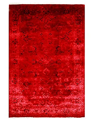 nuLOOM One-of-a-Kind Hand-Knotted Vintage Overdyed Area Rug, Red, 4' 2