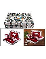 PMK Wooden Jewelry Box Elephant Design, Silver color Oxsidize Vintage Box.