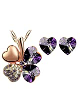Eterno Crystal Pendant Set For Women (Purple)