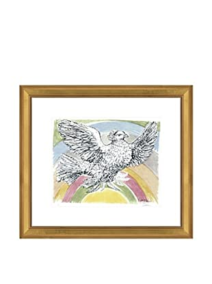 Pablo Picasso Flying Dove with Rainbow Background, 1952 Framed Art