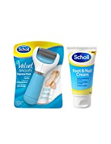 Scholl Velvet Smooth Electronic Foot File - Blue with Scholl Foot and Nail Cream - 75 ml
