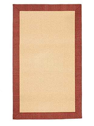 Natural Rugs Striped Chenille-Border Rug (Spicy Red)