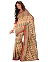 Orbymart Cream Color Raw Silk Saree - 55209066