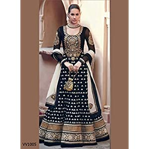 Admyrin Womens Faux Georgette With Resham Embroidery Anarkali Suit(Black_X-Large)
