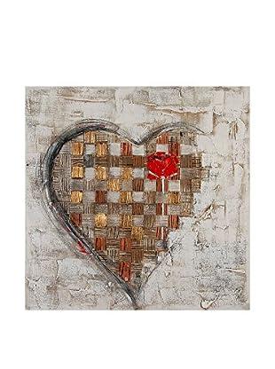 Arte Dal Mondo Lienzo Edgar Ramirez Cuore Con Rosa