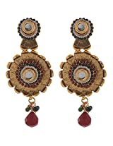 7Vibes Gold/Red Drop Earring for Women