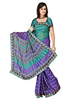 Sehgall Sarees Indian Professional Ethnic Alpheno Print with Lace Border color rama