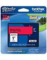 Brother Tape 1-inch, Black on Red (TZe451)