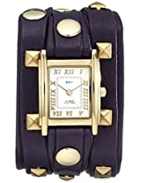 La Mer Collections Women's LML1010H Stainless Steel Watch with Purple Leather Wraparound Band