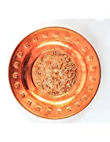 set of 4 pure Copper dinner plates embossed dining set