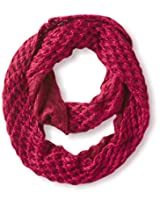 Dearfoams Women's 2-Tone Diamond Knit Infinity Scarf, Garnet/Burgundy, One Size