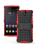 OnePlus One case, Flip Kickstand Rugged Dual Layer Black- Red Hybrid Case for OnePlus One with screen guard