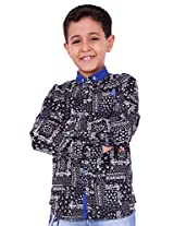 OK's Boys Adoring Black Casual Satin Shirt For Boys | OKS2566BLK