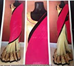 Half pink Half Golden Saree