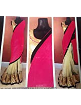 Half pink Half Golden Saree