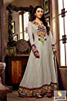 Grey and Green Floor Length Anarkali Salwar Suit