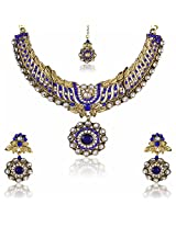 Gorgeous Blue Kundan Choker Necklace Set with Maang Tikka For Women by Shining Diva